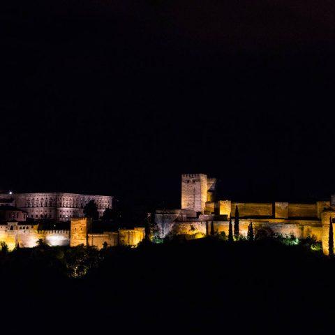Fotografía nocturna de la Alhambra
