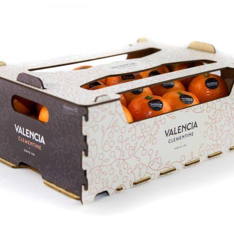 Fotografía de producto y caja de naranjas valencianas