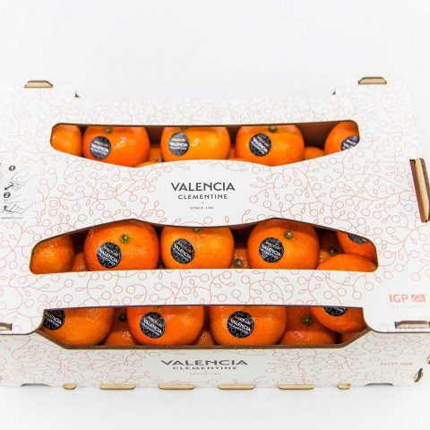Foto caja de naranjas sobre fondo blanco